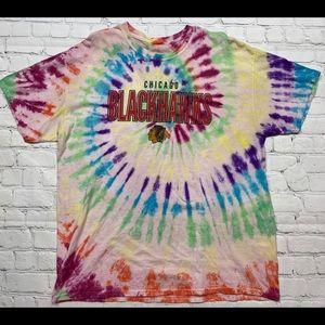 Chicago Blackhawks Spiral Tie Dye T Shirt